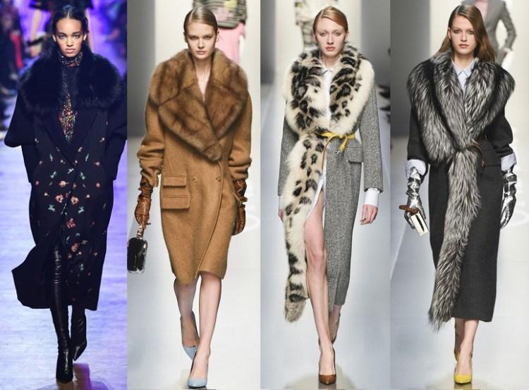 модные пальто с мехом и меховым воротником осень 2018 тренд