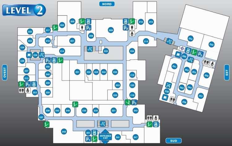карта аутлета Фокс Таун 2 этаж