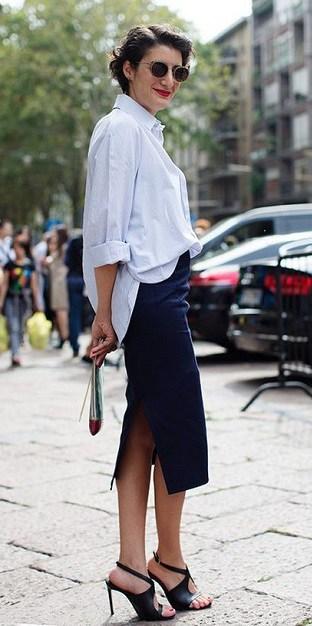 как носить белую рубашку с юбкой на работу