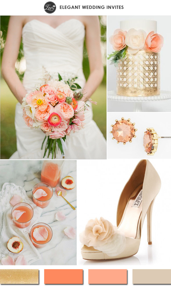 elegant-peach-and-gold-outdoor-wedding-color-ideas-2015