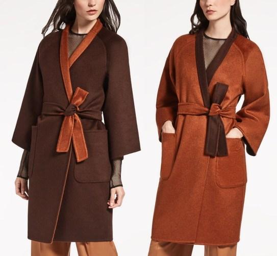 двухсторонее кашемировое пальто на запахе от Мас Мара