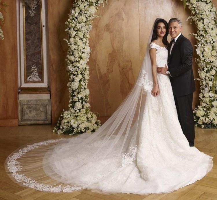 Свадебное платье Амаль Аламуддин отOscar de la Renta