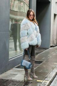 Fur street style Fashion week fall winter