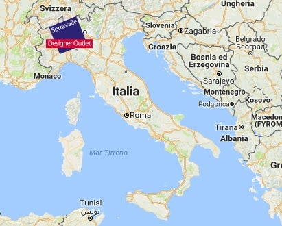 Аутлет Серравалле на карте Италии