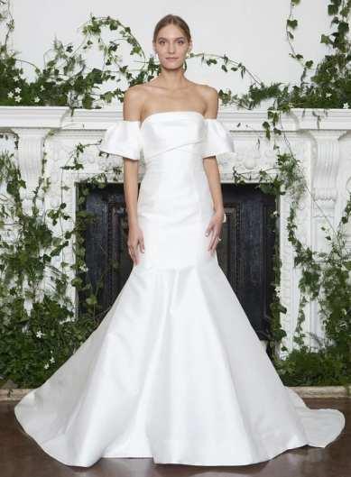 Monique Lhuillier свадебное платье с пышными руковами 2018