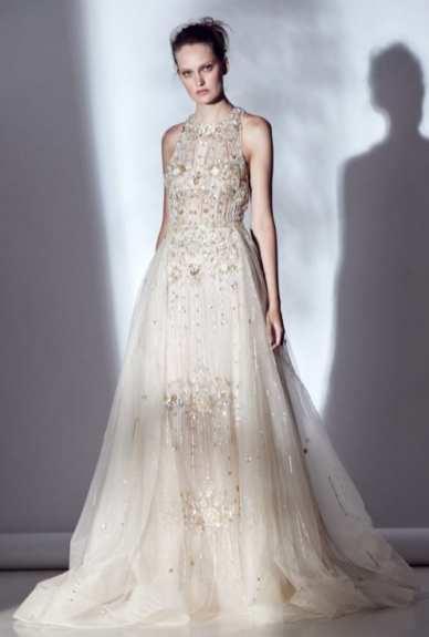 свадбеное платье с золотой вышивкой Rivini Bridal