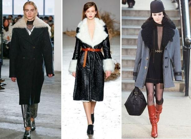 модные пальто с воротником из меха осень зима 2017