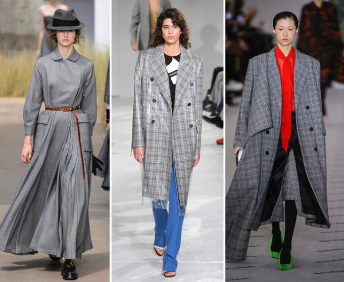 модное серое пальто в клетку 2017