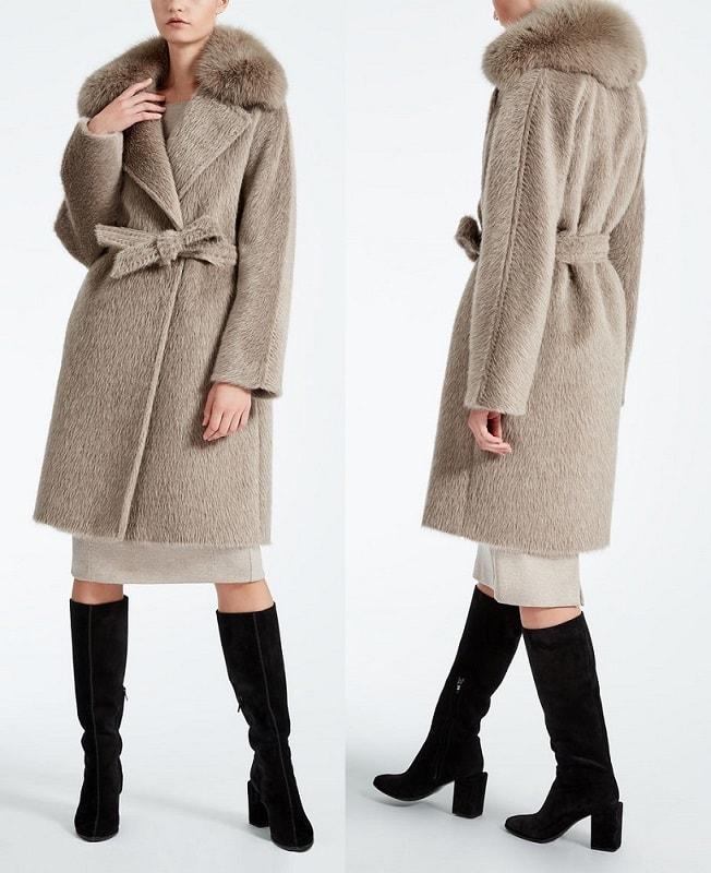 зимнее теплое пальто MaxMara с мехом модель Габриэль