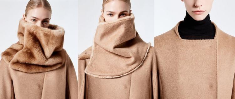 пальто макс мара верблюжье сосьемным меховым воротником осень 2017