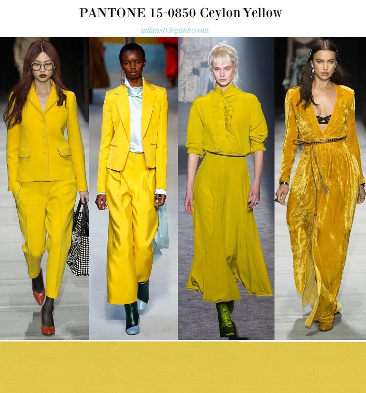 color fashion trend fall 2018 2019 PANTONE 19-1536 Ceylon Yellow