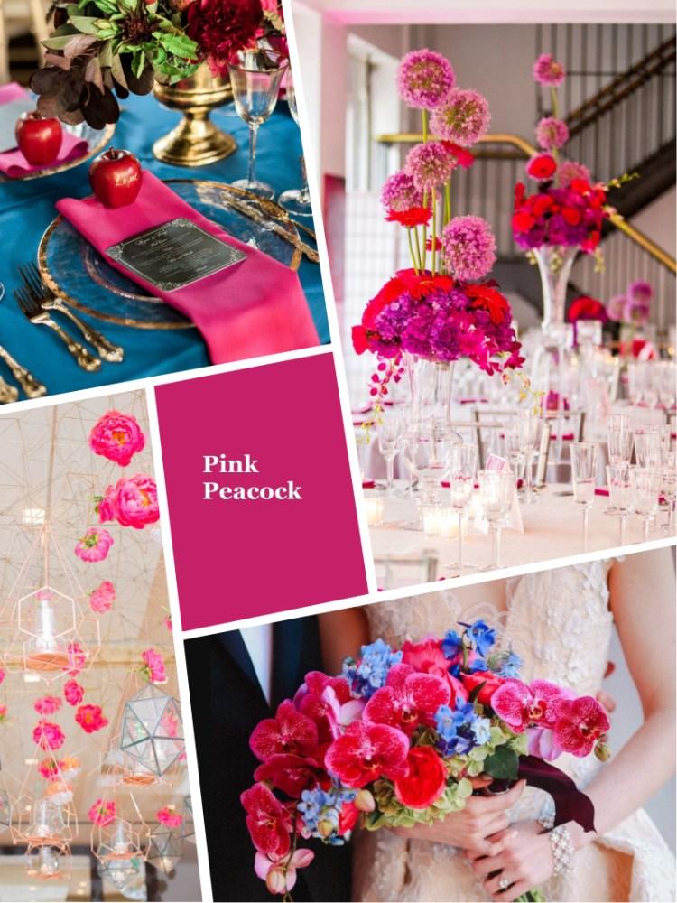 цвет свадьбы осень зима 2018 - 2019 модный цвет мажента - розовый павлин