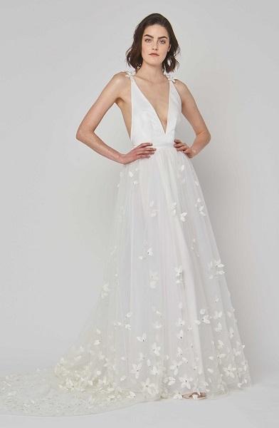 Alexandra Grecco свадебное платье с глубоким декольте - тренд 2019