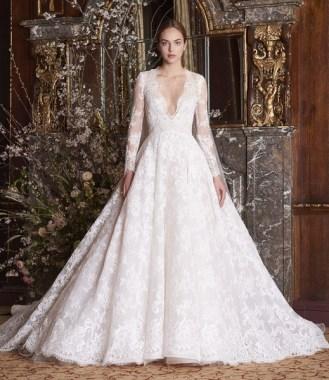 свадебные платья 2019 модные тенденции - красивое пышное свадебное платье monique lhuillier