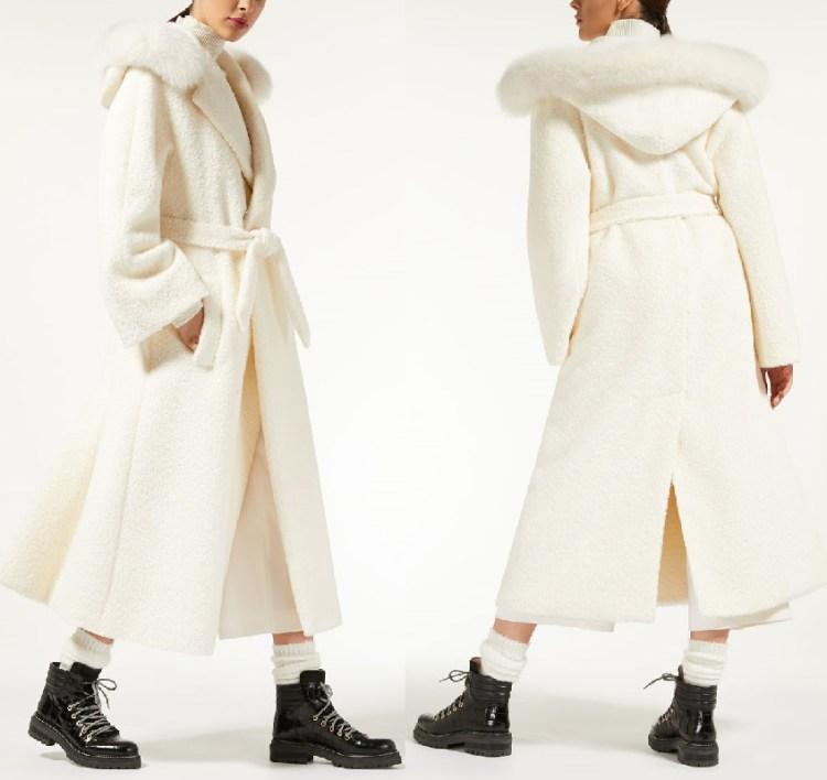 пальто Макс Мара белое с мехом и капюшеном осень зима 2018 2019