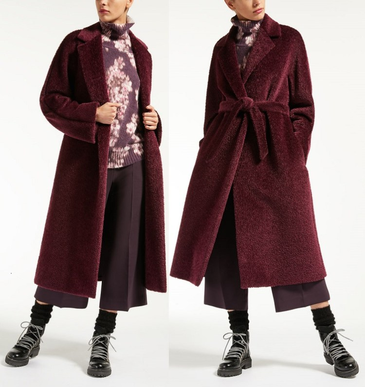 длинное пальто из теплой и пушистой ткани из смеси альпаки suri