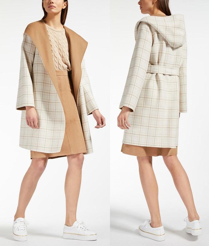 двухсторонее пальто Макс Мара с капюшеном осень зма 2019