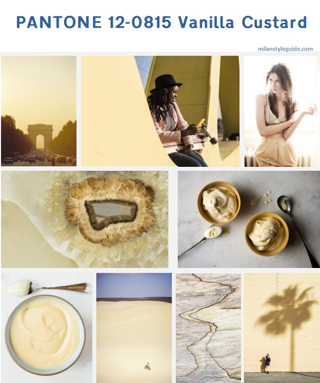 бежевый цвет осень PANTONE 12-0815 Vanilla Custard модный цвет осень зима 2019/2010