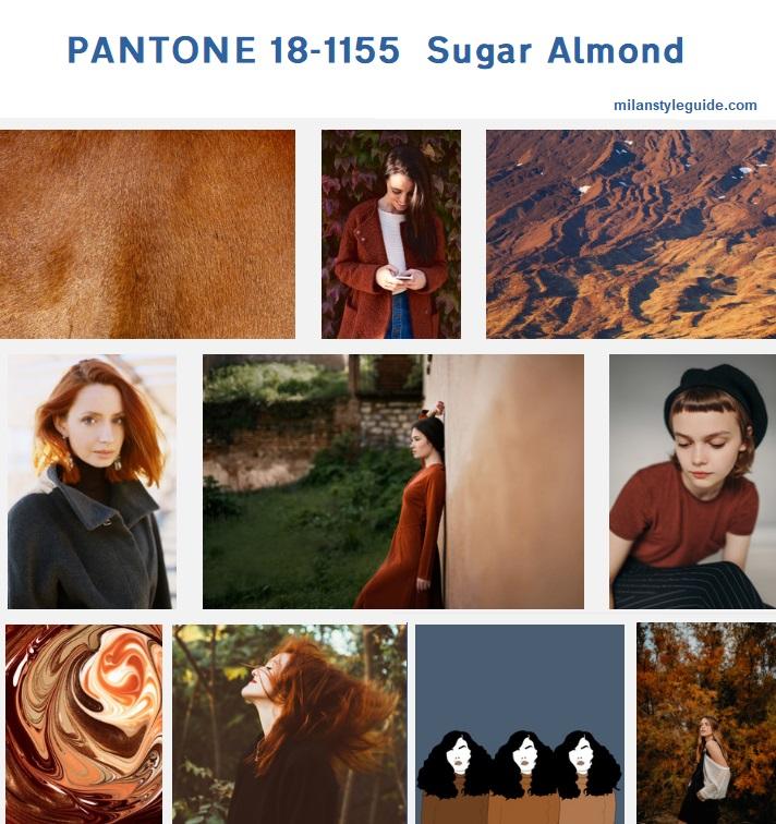 цвет осени рыжий PANTONE 18-1155 Sugar Almondмодный цвет осень зима 2019/2010