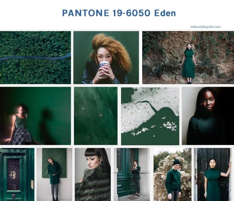 классический зеленый цвет осень зима 2019 2020 PANTONE 19-6050 Eden модный цвет осень зима 2019/2010