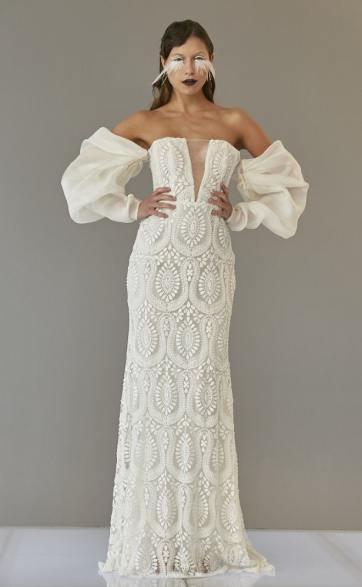 модные свадебные тенденции 2020 - свадебное платье с пышными рукавами