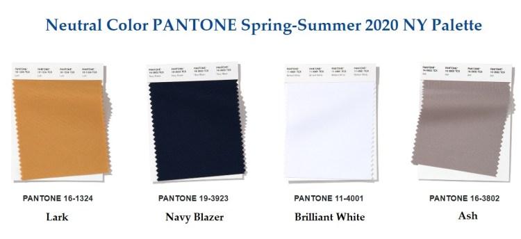 модные цвета Пантон весна лето 2020 нетральная классическая палитра