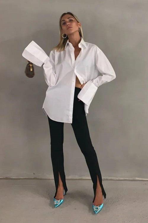 как модно носить белую рубашку в 202№ году весной летом и осенью