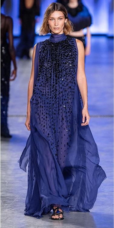 модные платья лето осень 2020 синего цвета