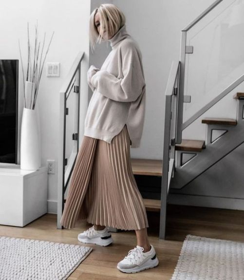с чем носить длинную юбку плиссе