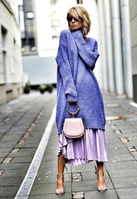 с чем носить сиреневую юбку плиссе