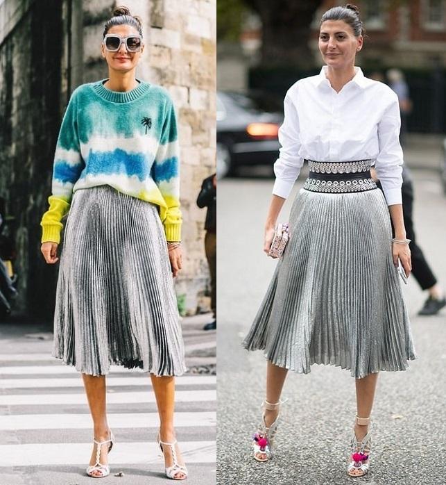 юбка плиссе серебро с чем носить