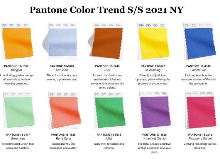 модные цвета весна лето Пантон палитра Нью йорк