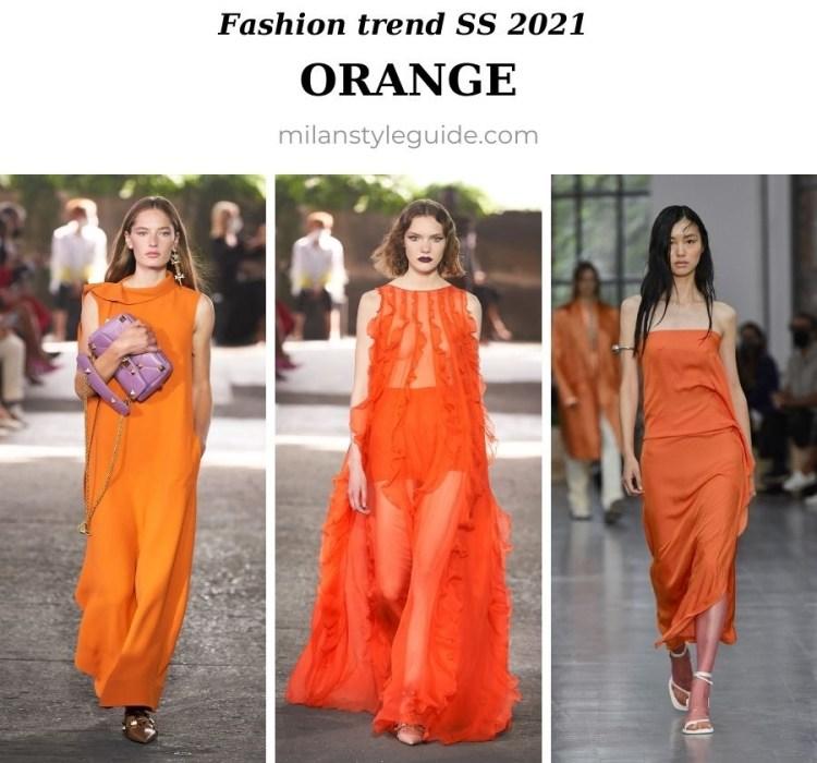модный тренд весна лето 2021 оранжевый цвет