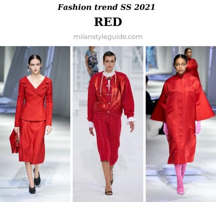 модный тренд весна лето 2021 красный цвет