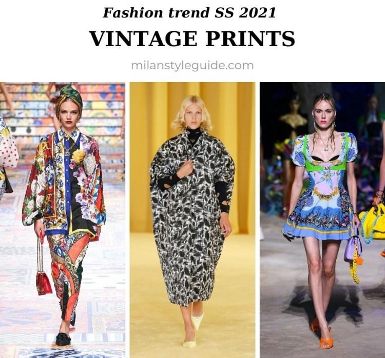модный тренд весна лето 2021 архивные винтажные принты