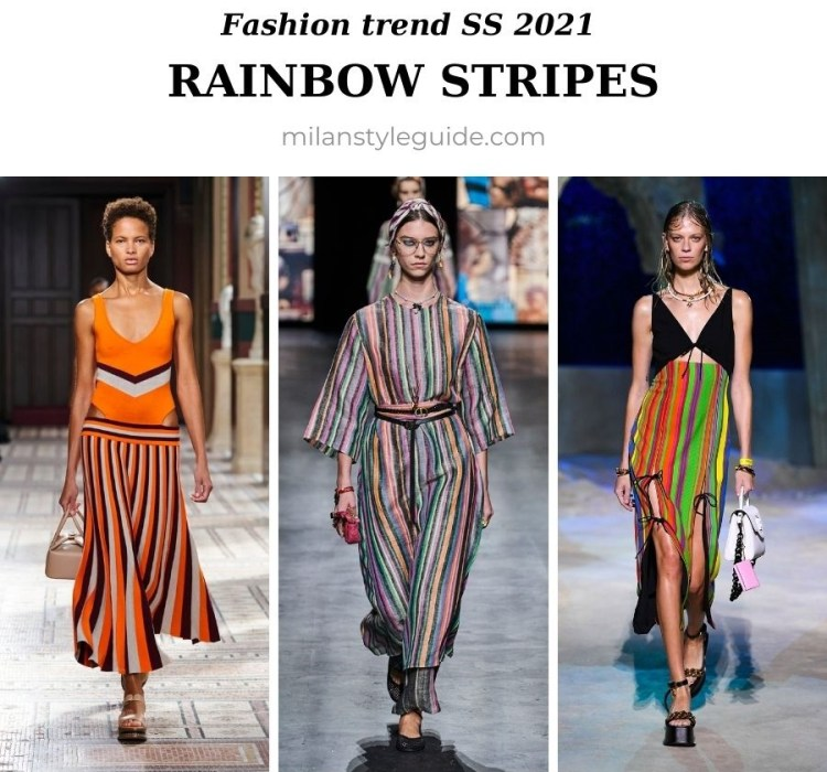 модный тренд весна лето 2021 цветные полоски