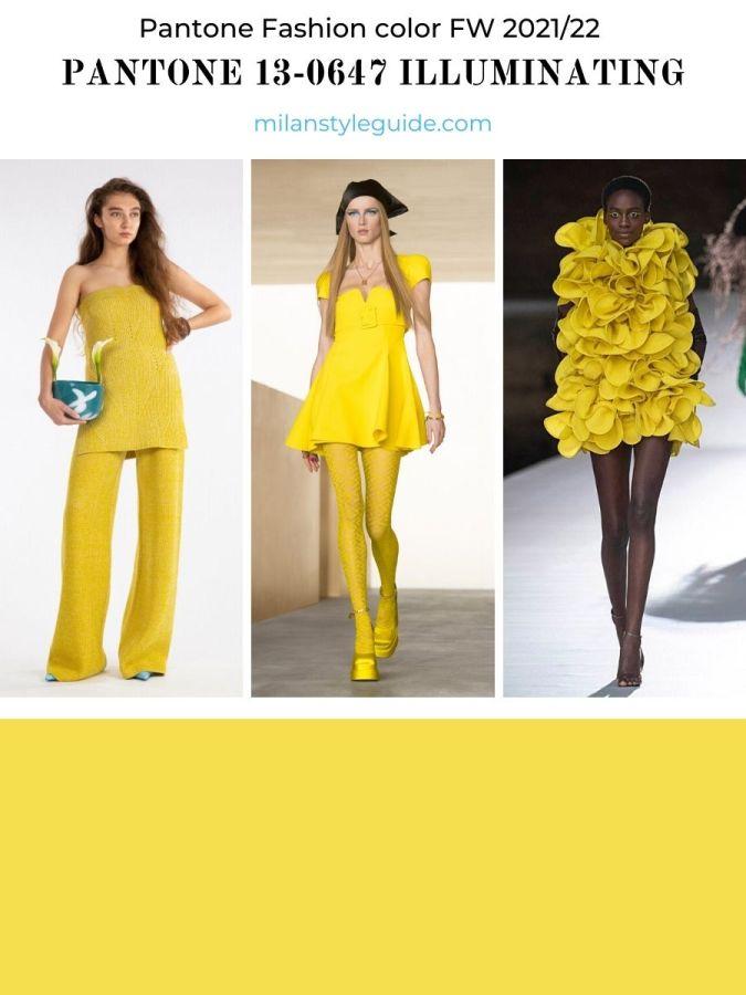 модный цвет желтый осень-зима 2021-2022 в одежде