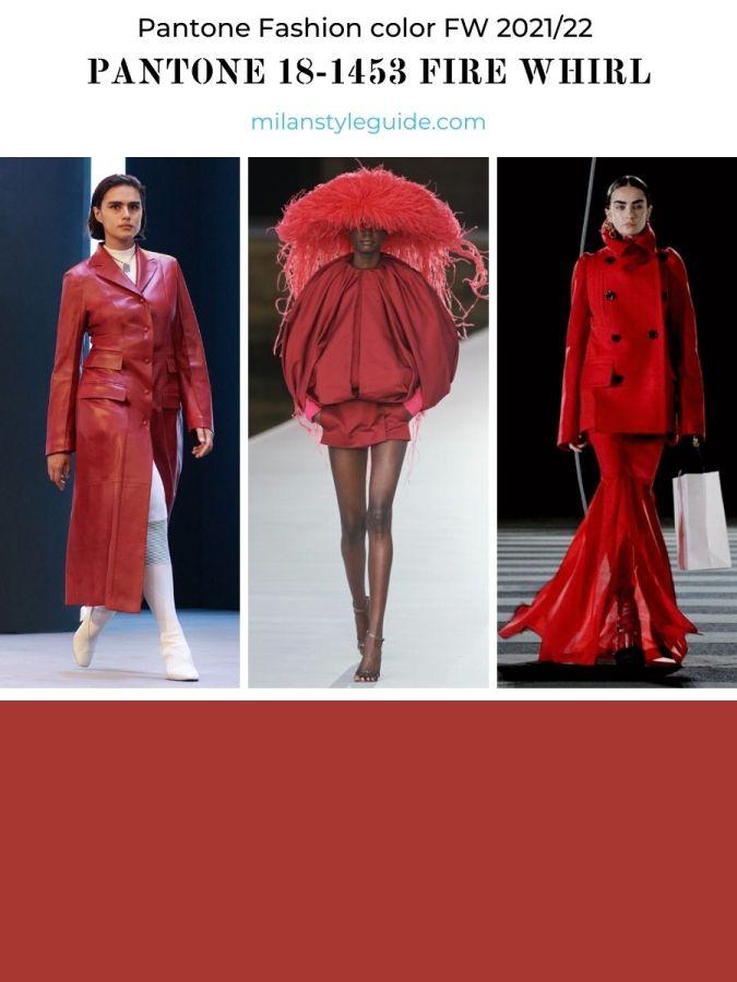 модный красный цвет осень-зима 2021-2022 в одежде