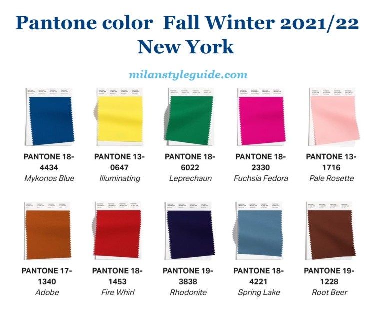 Pantone trend color fall winter 2021 2022 NY