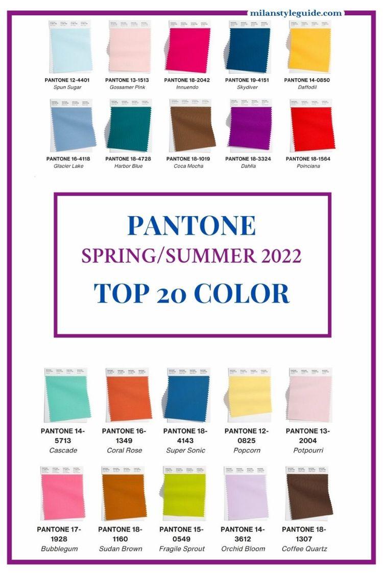 модные цвета Пантон весна лето 2022