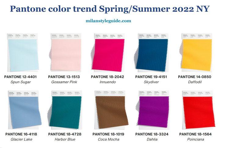модные цвета весна лето 2022 Пантон модная палитра Нью Йорка