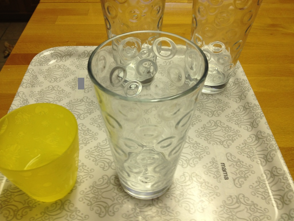 organized water glasses