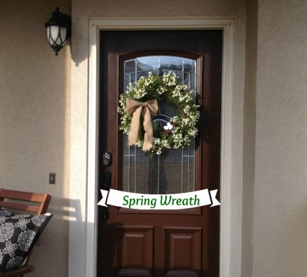 spring wreath on the door