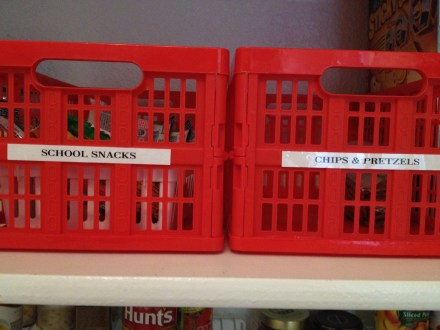 school snacks basket in the pantry