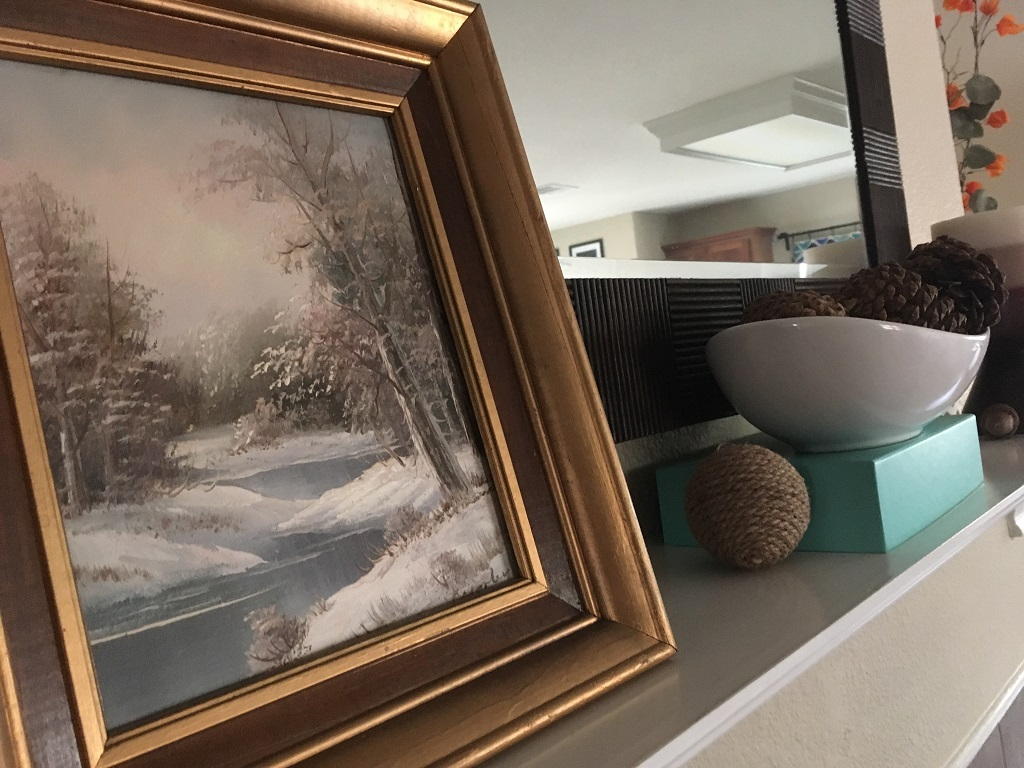 Simple winter fireplace mantel