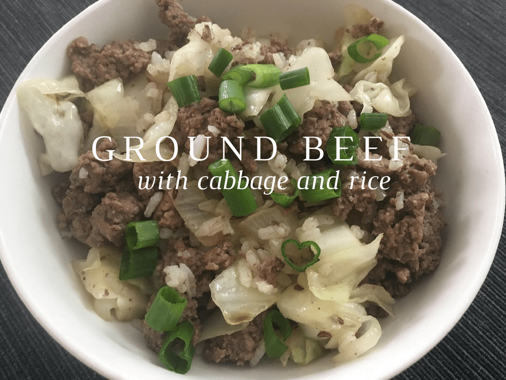 Ground beef with cabbage and rice