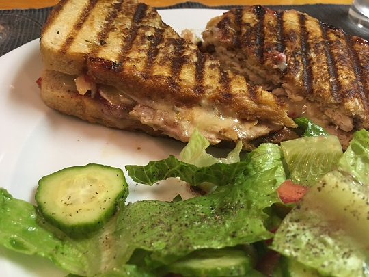 turkey, Brie, and cranberry sauce panini