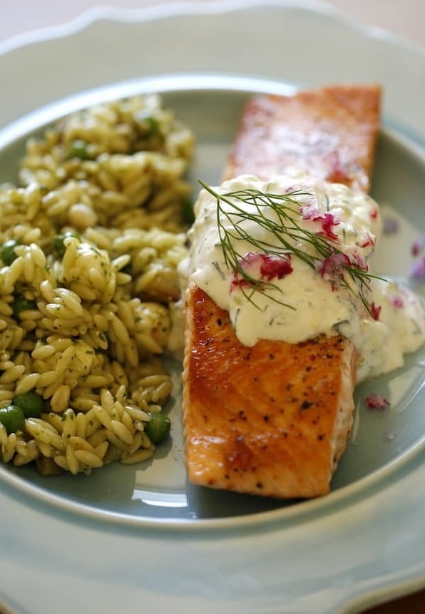 salmon with orzo