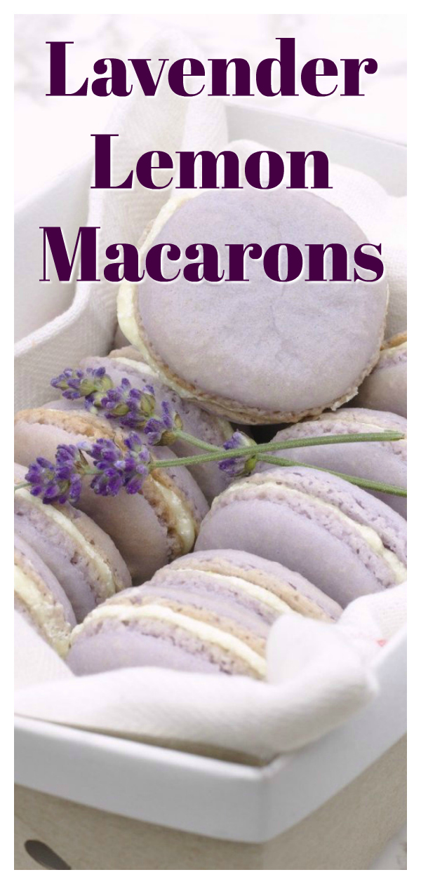 Lavender Lemon Macarons - Easy macaron recipe! Lavender macaron shells with a touch of lemon filled with a light lemon honey filling.  An elegant french dessert that tastes incredible! Easy Macaron Recipe | French Macarons | Macarons Recipe #dessert #baking #french #macarons