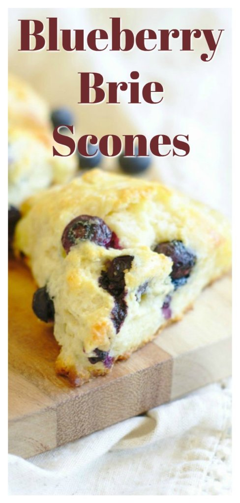 Blueberry Brie Scones - A delicious breakfast treat! Homemade scones filled with fresh blueberries and brie cheese, baked until golden brown. This is the best blueberry scone recipe! Easy Scone Recipe | Blueberry Scones | Homemade Scones #breakfast #baking #recipe